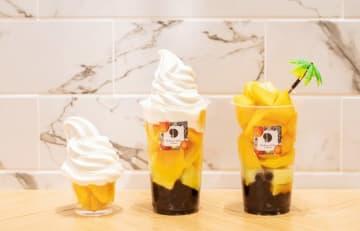 (右から)マンゴーフェスで提供する「真夏」と「真夏ソフト」の大と小(photo Peng Chu Yuan、Hanako.Taiwan)