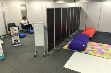 GW期間中に休憩スペースとして利用できる大阪・ミナミの貸会議室=29日