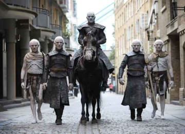 LONDON, ENGLAND - JULY 11: The Night King and White Walkers march through London to promote the forthcoming Game Of Thrones Season 7 on July 11, 2017 in London, England. The new season airs at 9pm on July 17th on Sky Atlantic. (Photo by Tim P....