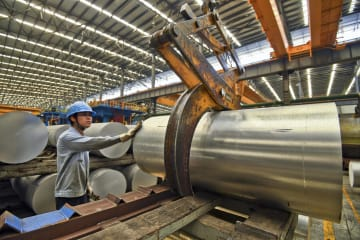 中国南寧市のアルミ製品工場=10日(AP=共同)