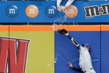 捕球を試みた際ビールを浴びたブルワーズのライアン・ブラウン【写真:AP】