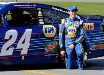 Caption:DAYTONA BEACH, FL - FEBRUARY 14: Chase Elliott, driver of the #24 NAPA Auto Parts Chevrolet, poses with his car after winning the Pole Award during qualifying for the NASCAR Sprint Cup Series Daytona 500 at Daytona International...