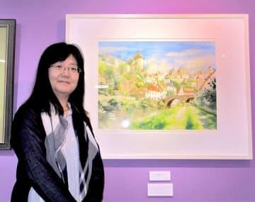 青木さんとフランスのスミュール・アン・ソワを描いた作品「再会の日」=さいたま市大宮区のギャラリー・エルポエタ2