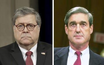 バー米司法長官(左、ロイター=共同)、モラー米特別検察官(AP=共同)
