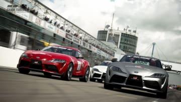 レーシングゲームでの「GRスープラ」のレース大会のイメージ(トヨタ自動車提供)
