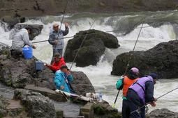 闘竜灘の岩場で釣りを楽しむ人たち=加東市上滝野