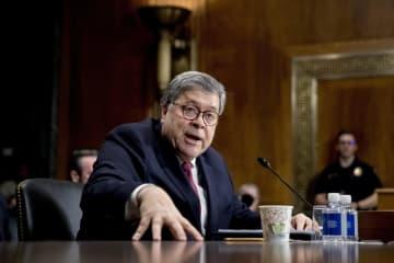 1日、米上院司法委員会で証言するバー司法長官=米ワシントン(AP=共同)