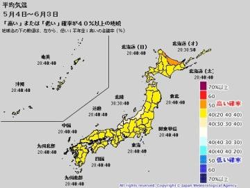 1か月予報(5月4日~6月3日の平均気温) 出典=気象庁ホームページ