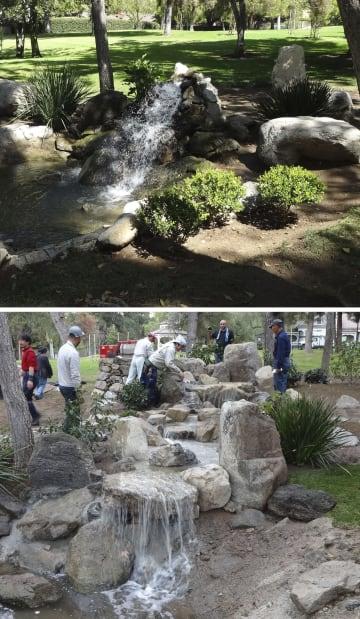 2017年度事業で手掛けた米カリフォルニア州の日本庭園。小さな滝(上)を3段に造り直した