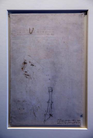 英王室コレクションの中から新たに確認された、レオナルド・ダビンチの表情が描かれたとみられる肖像画=4月30日(AP=共同)