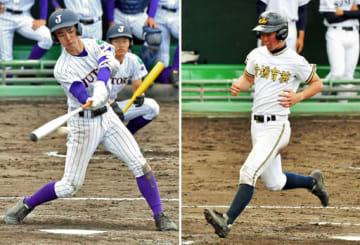 (左から)全試合で安打を放ち、打線をけん引する樹徳の青田、7割6分の出塁率で好機を演出する前橋育英の丸山主将