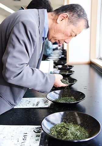 一番茶の色や香り、形などを吟味する販売業者ら=揖斐郡揖斐川町極楽寺、JA全農岐阜美濃茶流通センター