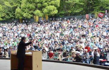 改憲反対を訴える憲法集会(京都市東山区・円山公園野外音楽堂)