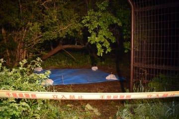 大内さんの遺体が見つかった現場=3日午後9時半、東金市