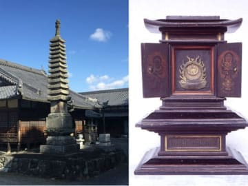 【焼失を免れた福成就寺の木造黒漆厨子と石造十三重塔(名張市提供)】