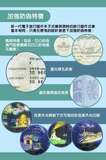 新しいマカオ特別行政区パスポートにおける偽造防止策の紹介(画像提供:マカオ特別行政区行政会)