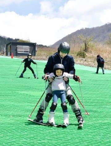 新緑の中、人工ゲレンデでスキーを楽しむ家族連れ=5月2日、福井県大野市南六呂師の六呂師高原スキーパーク