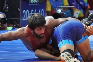 65kg級の1位を奪取したプニア・バジラン(インド)