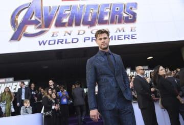 映画「アベンジャーズ」最新作の公開イベントに出席した出演俳優のクリス・ヘムズワースさん=4月22日、米ロサンゼルス(AP=共同)