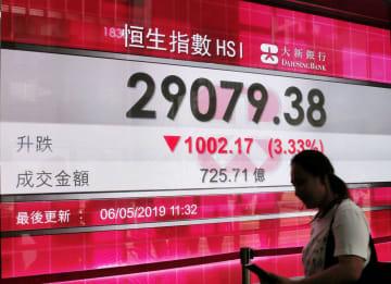 6日の香港株式市場の株価指数を示すボード=香港(AP=共同)