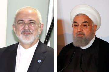 イランのザリフ外相(左)、ロウハニ大統領(ロイター=共同)