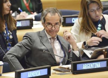 2020年のNPT再検討会議の議長に選出された、アルゼンチンのラファエル・グロッシ氏=8日、米ニューヨークの国連本部(共同)
