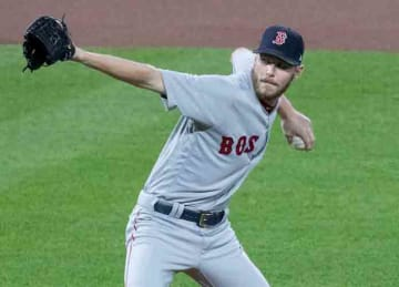 Chris Sale of the Boston Red Sox in a game against the Baltimore Orioles at Oriole Park at Camden Yards on September 20, 2017 in Baltimore, Maryland. Date 20 September 2017 (Wikipedia Commons. Author: Keith Allison)