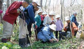 説明を受けながら自然観察を楽しむ参加者ら