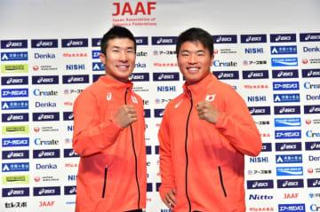 日本初開催となる「世界リレー」へ意気込む桐生祥秀選手(左)と小池祐貴選手