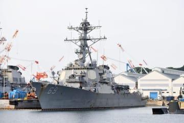 民間施設での整備を終え、米海軍横須賀基地に着岸したイージス駆逐艦「ミリアス」=午後4時55分ごろ、横須賀市