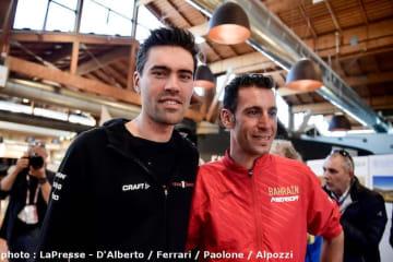 ジロ・デ・イタリアで優勝経験があるオランダのドゥムラン(左)と地元イタリアのニバリ