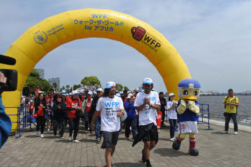過去最多の参加があった「WFPウオーク・ザ・ワールド」 =12日午前10時半すぎ、横浜市西区
