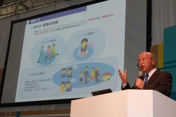 健康宣言の取り組みについて講演する協会けんぽ愛知支部の芦田豊支部長