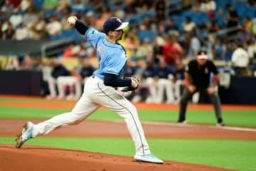 ヤンキース戦に先発しているレイズのブレイク・スネル【写真:Getty Images】