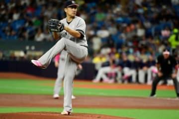 レイズ戦で先発登板したヤンキース・田中将大【写真:Getty Images】
