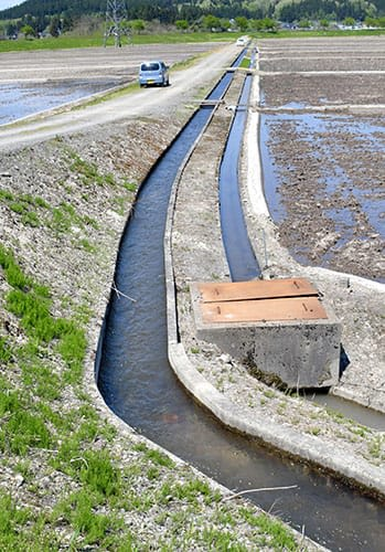 男児が流された用水路(左)=12日午後0時43分、舟形町富田