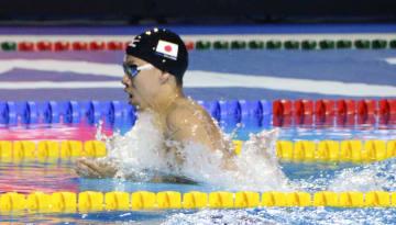 男子200メートル平泳ぎで2位の渡辺一平=ブダペスト(共同)