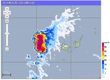 5月13日午前10時15分、与那国地方の雨雲の動き(高解像度降水ナウキャスト)(気象庁のHPから)