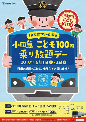 「小田急 子ども100円乗り放題デー」ポスター