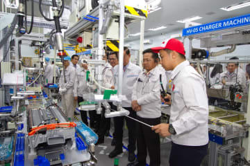 Toyota begins producing hybrid vehicle batteries at its Gateway plant in Chachoengsao Province, east of Bangkok. Photo: Toyota Motor (Thailand) Co.