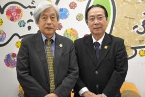 来社した堤副会長、生田会長