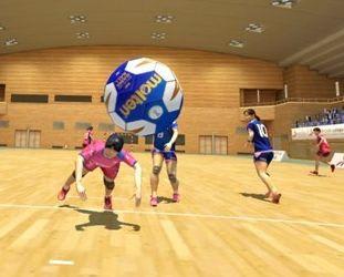NTTが開発したVRを活用したハンドボールのCG映像。コートにいるかのような臨場感が味わえる(同社提供)