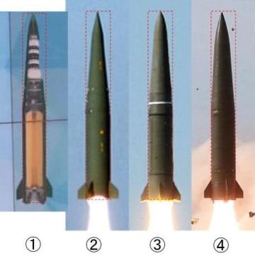 類似点が指摘される各国のミサイル。(1)ウクライナの「グロム」(2)韓国の「玄武2」(3)ロシアの「イスカンデル」(4)北朝鮮が4日発射した飛翔体(38ノース提供・共同)