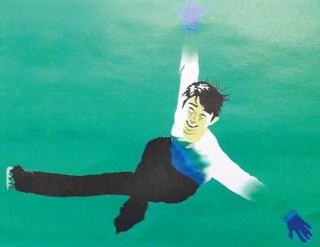 田んぼアートで描く羽生選手のイメージ図