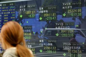 日経平均株価など世界の株価を示すボード=14日午前、東京・八重洲