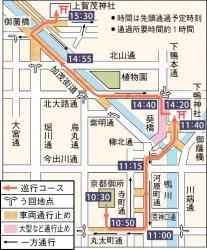 葵祭の巡行コースと交通規制