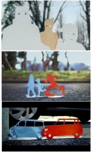 岡山トヨペットが製作した動画の一部。(上から)マイペースで走る親子にいら立ち距離を詰めるランナー。怒りが頂点に達し炎の形となり追い掛ける。車の追突事故を写しだして危険な運転の防止を呼び掛ける