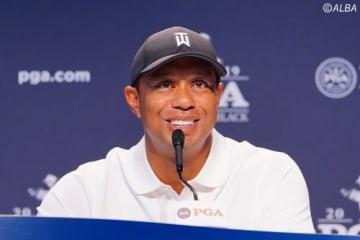 タイガーが全米プロを前に未来への思いを語った(撮影:岩本芳弘)