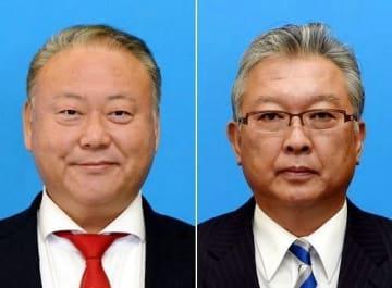 議長になった浦上雅彦氏(左)と副議長の松田安義氏