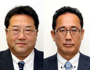 岡山県議会議長に決まった蓮岡靖之氏(左)と副議長の小倉弘行氏